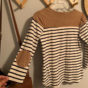 Monteau Tops - Monteau striped and suede top